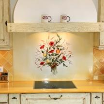 Crédence en lave avec fond Jaune Italien clair et bouquet de coquelicots