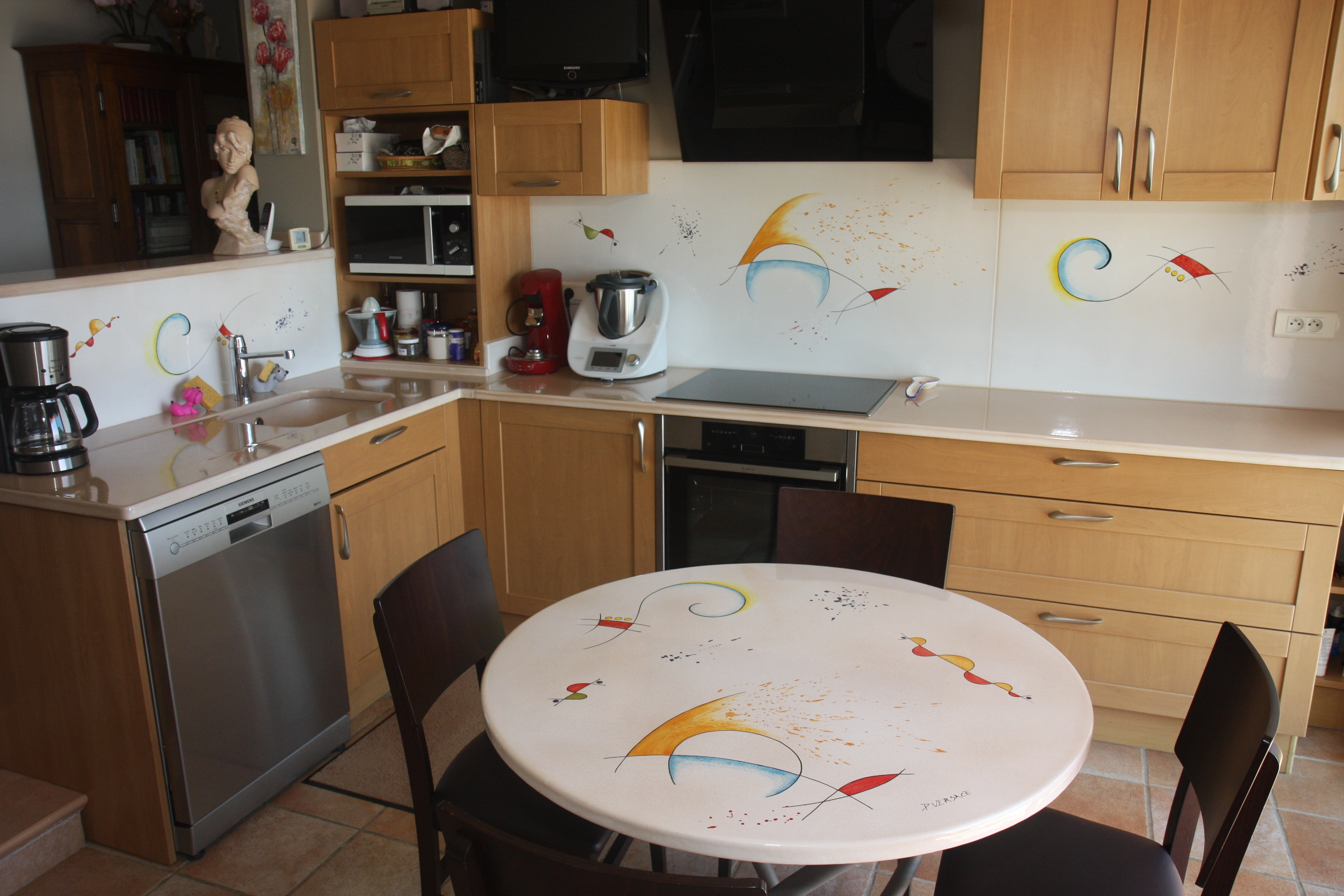 Enameled Lavastone Worktops And Tables Plain Or Hand Painted